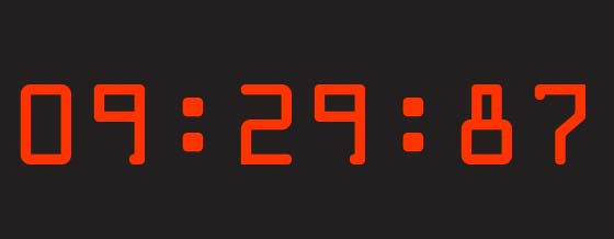 Numbers of a digital clock